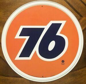 "~76 Gas Oil ~ 12"" Round Metal Sign ~ Orange Man Cave Garage Auto Mechanic shop"