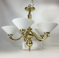 5 Arm Polished Brass Chandelier Mouth Blown Vianne French Milk Glass Shades 24""