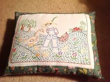 Decorative Embroidered Farm Gardening Duck Floral Throw Pillow - FUNDRAISER