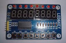 8 - 7 Segment LED Plus 8 LED + 8 pulsante TM1638 chiave display, per Arduino, UK Stock