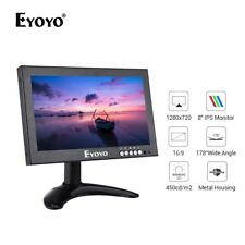 """EYOYO 8"""" IPS 16:9 Monitor 1280x720  HDMI/VGA/AV/BNC/SPEAK Input For Raspberry Pi"""