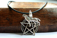 Silver Wolf Pentagram Pentacle Charm Pendant & Necklace UNISEX Gothic Jewellery