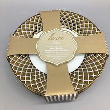 x4 Ciroa Luxe Lattice Metallic Gold Appetizer Dessert Plate Set Holiday NEW