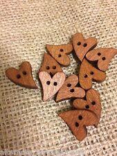 Wooden Heart Buttons. 19mm. 10 Pack. Wooden Button. Scrapbook. Button Bouquet.