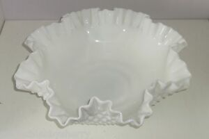 Fenton Serving Bowl Milk White Hobnail Vintage Marked Large Fruit Ruffled Edge