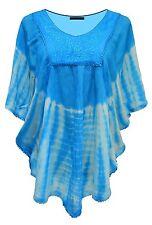 Fashion Women's Loose Long Sleeve Batwing Dolman Tunic Blouse Top Plus Size Blue