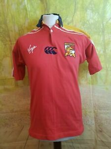 London Broncos 2002 red Canterbury Home Rugby League Shirt. UK men's size Small