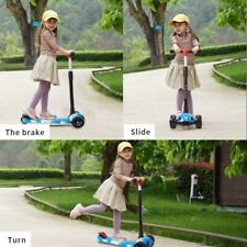 Kids Scooter 3 Wheels Girls Boys Toy Blue Wide Pu Led 2 to 14 Years Old-Blue