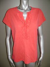 LRL RALPH LAUREN JEANS CO WOMEN TOP RUFFLE BLOUSE T SHIRT TEE size XL RED ORANGE