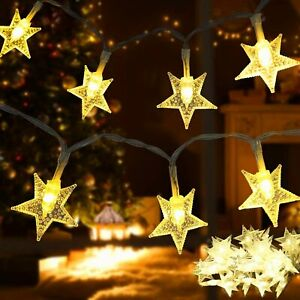 NEW - 17 Ft. Star String LED Lights, Outdoor Waterproof Battery Powered