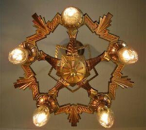Art Deco 5 Light Chandelier 30`s Restored Copper Gold Bronze Metallic Finishes