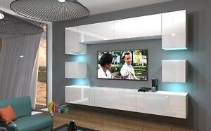 Mediawand Wohnwand 9 tlg NEXI XL 16 Weiss-Schwarz Hochglanz inkl.LED