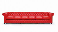 Designer Large Red 6 Seat Sofa Leather Textile Pads Sofas Couch Chesterfield