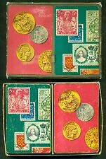1950's Stamps & Coins Double Deck Playing Cards in Case