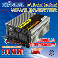 Pure Sine Wave Inverter 300W/600W Max 12V-240VAC With Car Plug 1 Amp USB