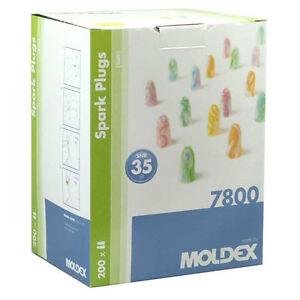 400 SOFT FOAM EAR PLUGS, 200 PAIRS OF MOLDEX SPARK 7800 EARPLUGS - SNR 35dB