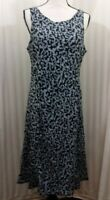 Breastfeeding Nursing Dress Black & White VIne Pattern V-Back ZIP To Feed Sz XL