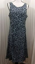 Breastfeeding Nursing M Dress Black & White VIne Pattern V-Back ZIP To Feed NEW