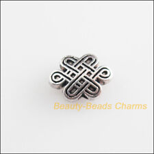 10Pcs Tibetan Silver Tone Chinese Knot Spacer Beads Charms 7x10mm