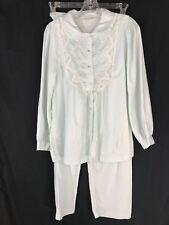 Vintage Barbizon Womens S Pajama Set Mint Green Silky Feel Top Pants Long Sleeve