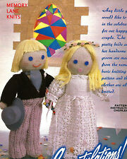 Bride & Groom Knitted Dolls w Outfits - Vintage Knitting PATTERN -  Wedding 70