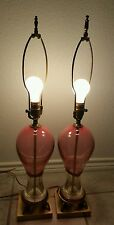 2 Rare MURANO Art Glass & Brass Mid Century Table Lamps Cranberry/Pink