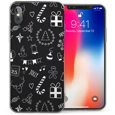 Apple iPhone X Case Christmas Black And White Soft Protective Silicone Gel Cover
