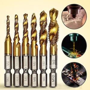6PCS Hex Shank Titanium Steel Screw Thread Drill Bits Set Compound Tap M3-M10