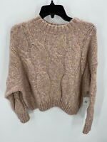 4Si3nna Womens Size M Medium Pink Cable Knit Sweater Long Sleeve