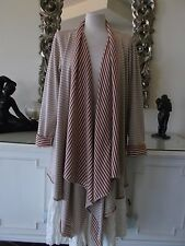 ELEMENTE CLEMENTE 100% Cotton Knit Brick Sand Striped Jacket Cardigan 14 16 BNWT