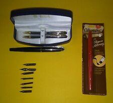 Bill Blass Pen & Pencil Set/6 Hunt Nibs/Porsche Pen & Caligraphic Pen Nip