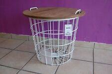 Side Table Coffee Jade Metal Basket with Storage Space Mango Wood 60cm x 50cm