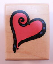 Stampington And Co Wooden Rubber Stamp Ribbon Heart Love Romance