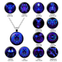 12 Zodiac Sign Pendant Necklace Galaxy Constellation Necklace Cabochon Jewelry