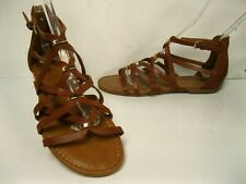 4667c7d6e7a5 Merona Brown Gold Accents Strappy Gladiator Flat Sandals size 9 M    New