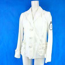 Sem Per Lei Ladies Blazer Jacket Size 42 XL White Cotton Polyester Np 249 New