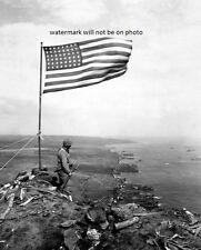 "Stars and Stripes wave in triumph over Iwo Jima 8""x 10"" World War II Photo #95"