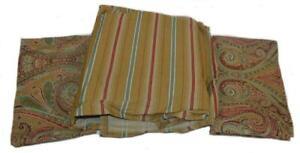 Ralph Lauren Hera Champagne 2 Paisley Standard Shams & 1 Stripe Queen Bedskirt