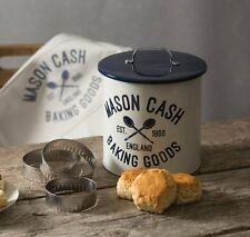 Mason Cash VARSITY BISCUIT Tin BARREL with 3 Cookie CUTTERS & APRON Gift SET