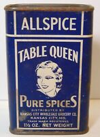 Rare Old Vintage 1930s TABLE QUEEN WOMAN GRAPHIC SPICE TIN KANSAS CITY MISSOURI