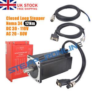 12Nm Nema 34 Closed Loop Servo Stepper Motor 6A 151mm +Hybrid Servo Driver CL86Y