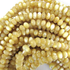 """4mm natural mother of pearl mop rondelle beads 16"""" strand"""