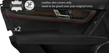 RED STITCH 2X FRONT DOOR CARD TRIM LEATHER COVER FOR MERCEDES C CLASS W204