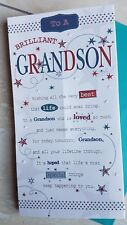 Grandson Birthday Card ~ Embossed With Stars Sentiment Verse