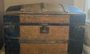 Antique Metal/Wood Camelback Trunk Chest Steamer Vintage
