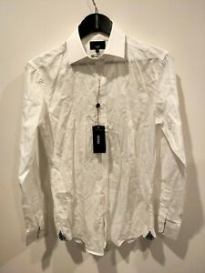 BNWT Oxford white patterned small men's luxury slim shirt - rrp $199.95