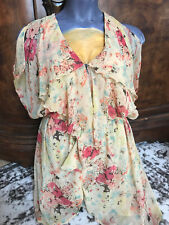 NWT BUFFALO boho tie dye splatter open cold shoulder butterfly sleeve dress-M