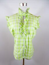 CARBON PINK Women's Vtg Summer Frill Cotton Check Green Casual Blouse sz 18 BE41