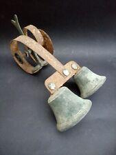 Antique Double Door Bell Sprung Double Ringer Brass Bronze Servants Original Old