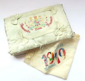 ANTIQUE FRENCH SILK HANDKERCHIEF CASE HOLDER POUCH WITH EMBROIDERED SILK HANKY